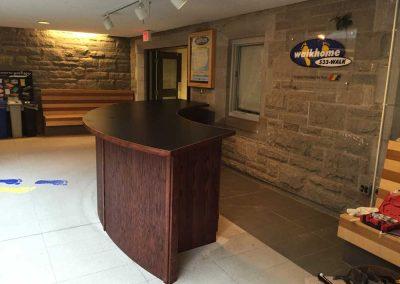 Custom curved reception desk